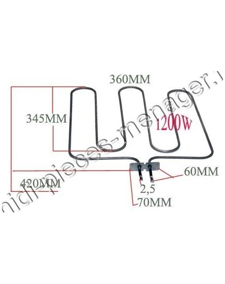 resistance sole 1200W sauter 75x1485 77X3282