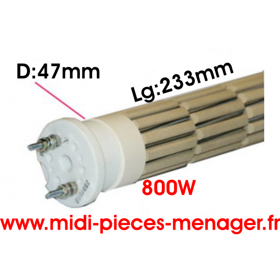 resistance steatite 800W dia.47mm Lg:233mm 00440213