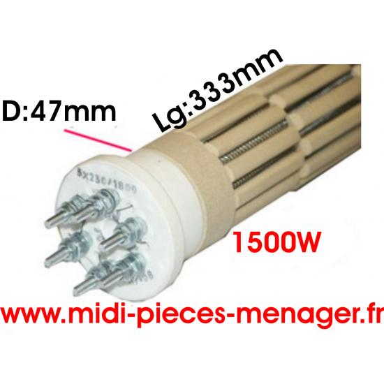 resistance steatite 1500W dia.47mm Lg:333mm triphasé 00440216