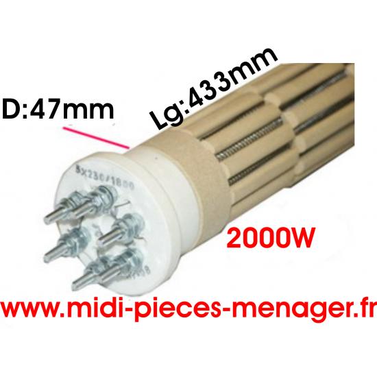resistance steatite 2000W dia.47mm Lg:433mm triphasé 00440221