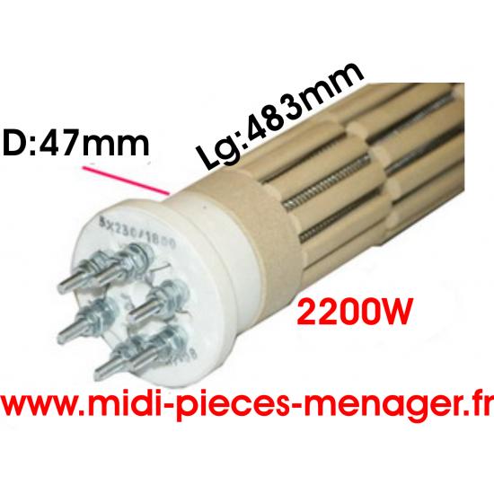 resistance steatite 2200W dia.47mm Lg:483mm triphasé 00440223