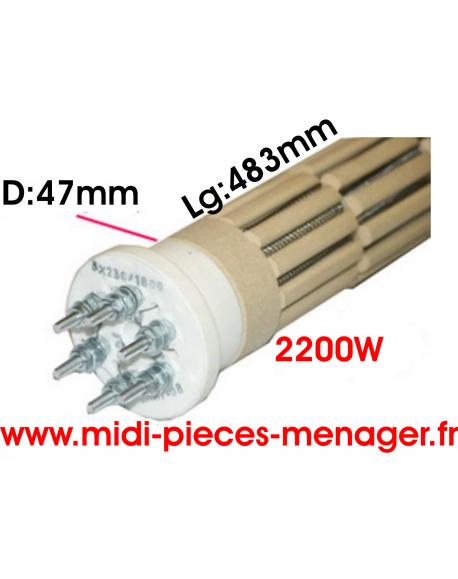 steatite 2200W dia.47mm Lg:483mm triphasé