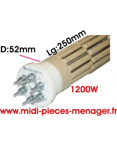 steatite 1200W dia.52mm Lg:250mm triphasé