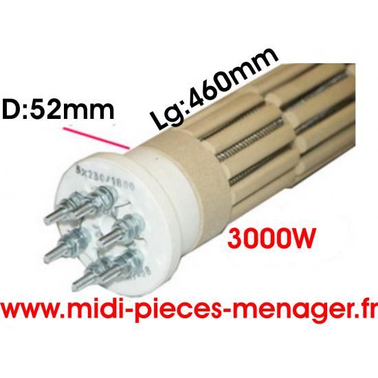 resistance steatite 3000W dia.52mm Lg:460mm triphasé 00440234
