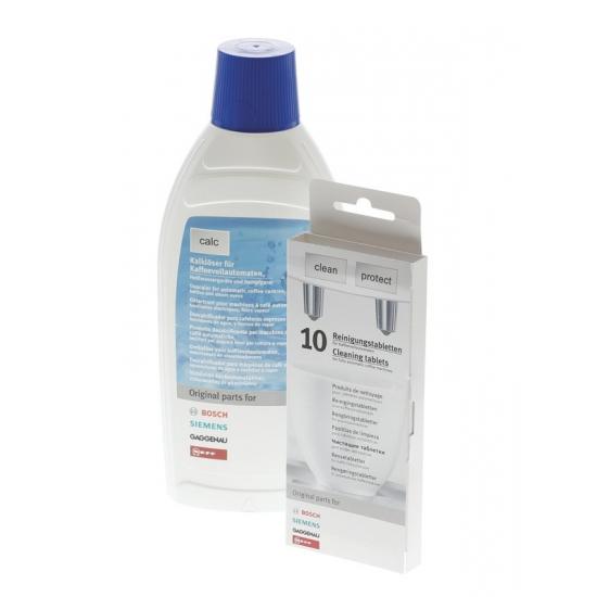 kit detartrant liquide 500ml + 10 pastilles de nettoyage cafetieres et bouilloires bosch siemens 00311813
