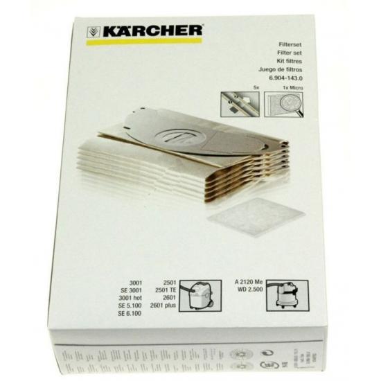 kit 5 sacs + 1 microfiltre 3001 aspirateur Karcher 69041430